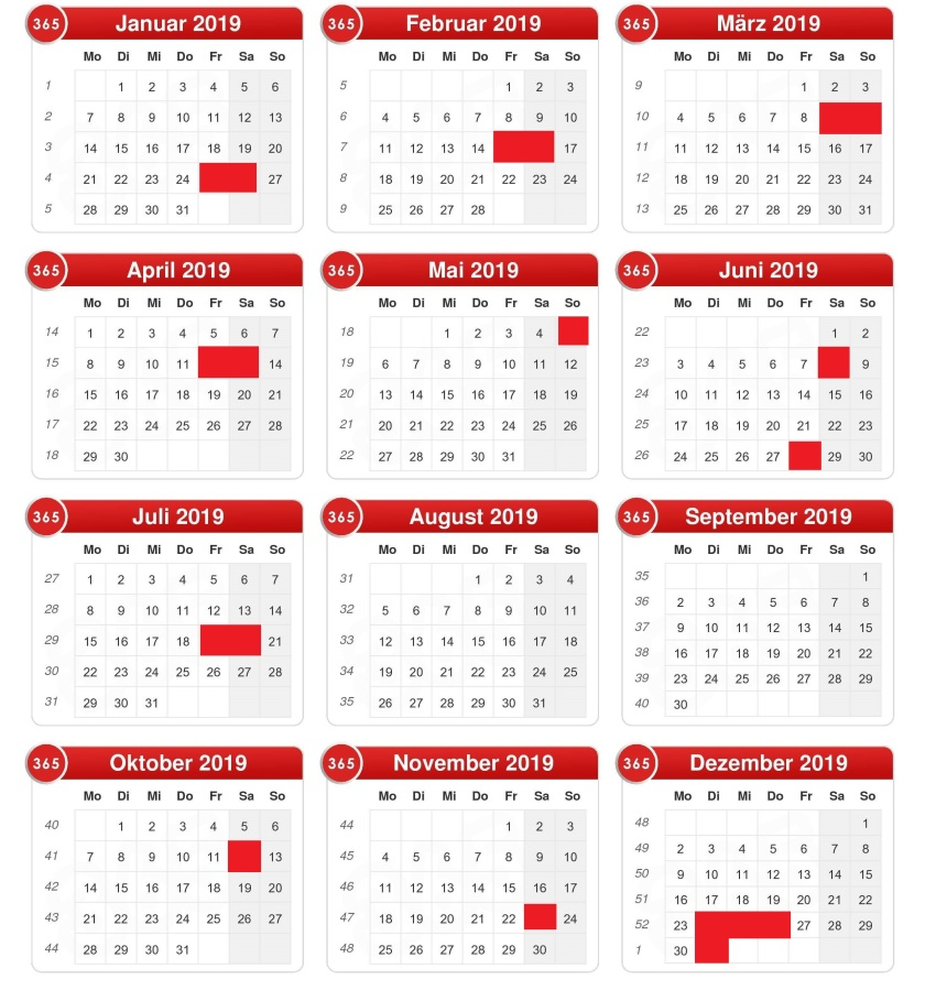 Kalender 2019 hochformat (Version 2.0)